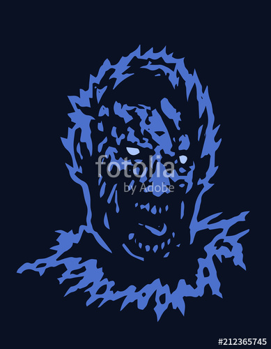 389x500 Frenzy Zombie Head. Vector Illustration Stock Image And Royalty