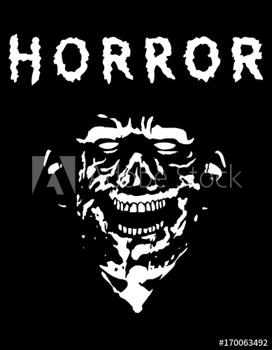 389x500 Spooky Zombie Head With Torn Face. Black And White Colors. Vector