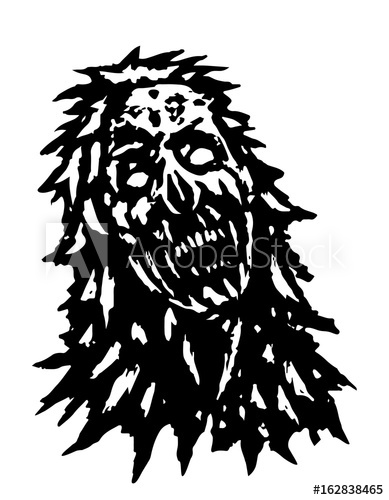 389x500 Terrible Zombie Head. Vector Illustration.