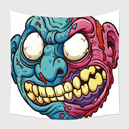 425x425 Home Decor Tapestry Wall Hanging Zombie Head Vector