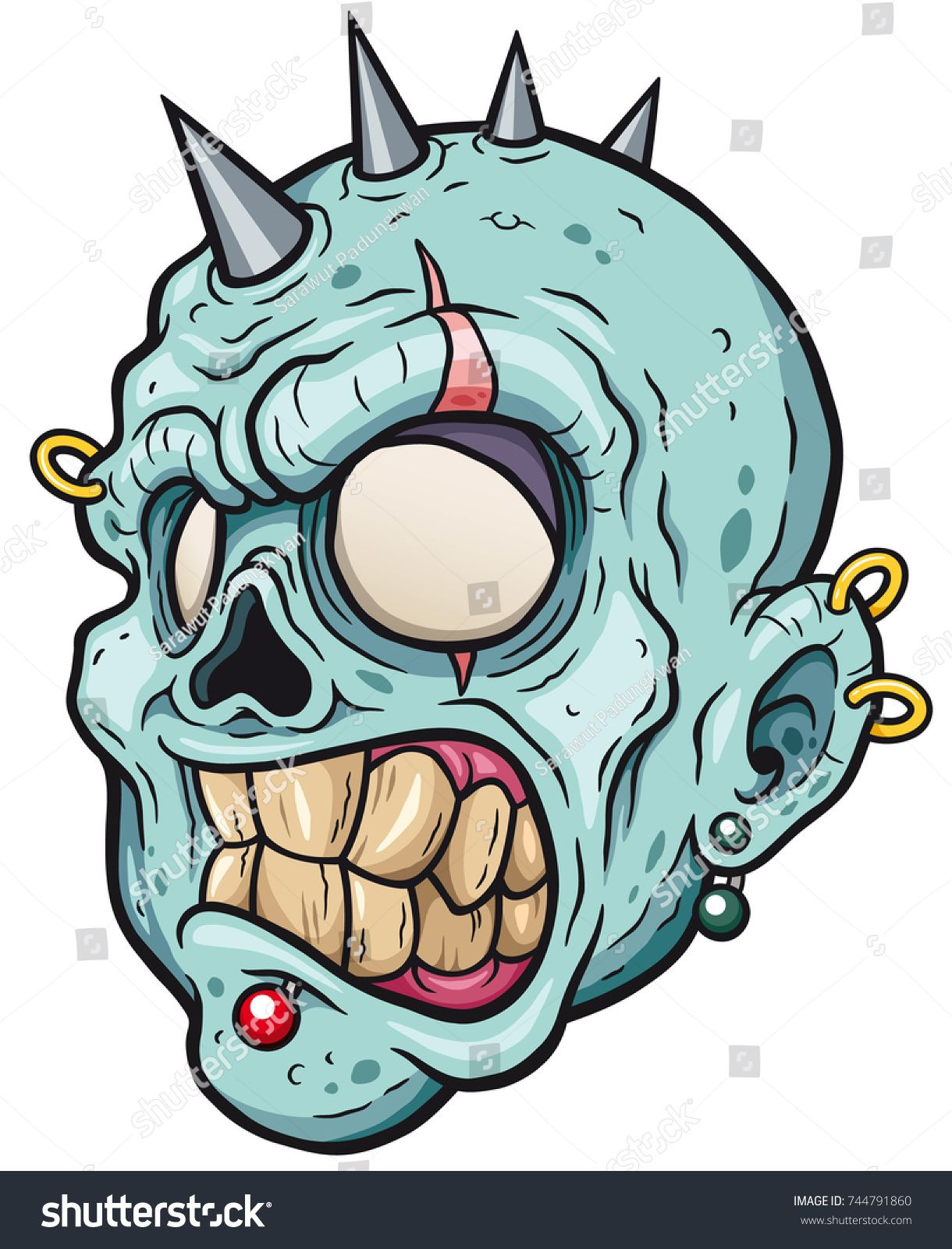 1220x1600 Vector Illustration Of Cartoon Zombie Head Cartoon Design In