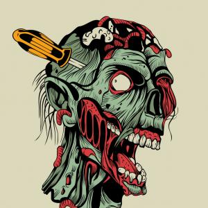300x300 Zombie Head With A Screwdriver Vector Shopatcloth