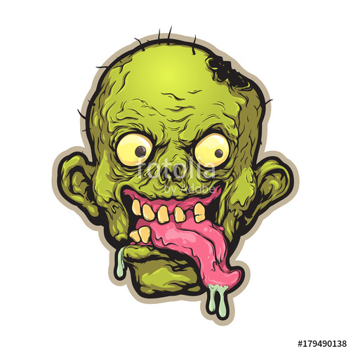 500x500 Zombie Head. Mascot, Logo, Sticker, Print, Avatar. Vector