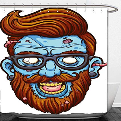 425x425 Interestlee Shower Curtain Hipster Cartoon Zombie Head