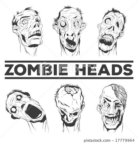 450x468 Zombie Heads Vector Illustrations