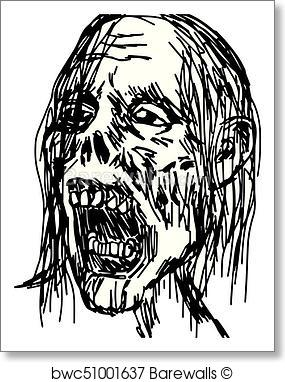 285x382 Art Print Of Zombie Head Vector Illustration Sketch Hand Drawn