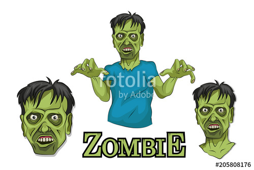 500x334 Cartoon Zombie Head. Vector Graphics To Design. Stock Image And