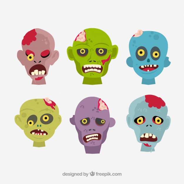 626x626 Cartoon Zombie Heads Vector Free Download