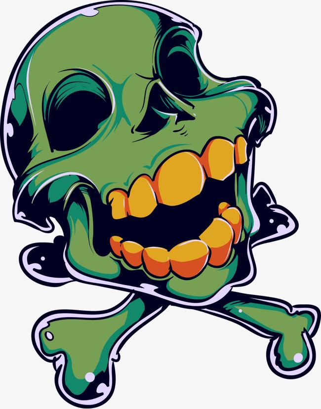 650x828 Green Skull Vector Material Zombie Horror, Green Vector, Skull