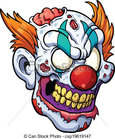 390x470 Zombie Clown Head. Vector Clip Art Illustration With Simple