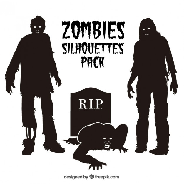 626x626 Zombie Silhouettes Pack Vector Free Download