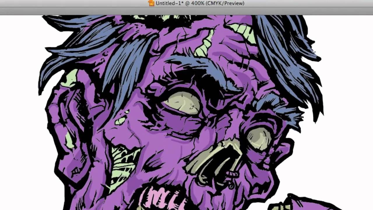 1280x720 Zombie Vector Coloring In Illustrator Part 2