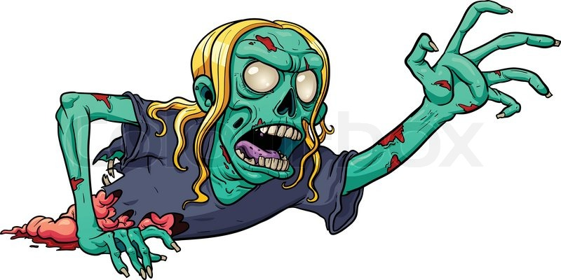 800x400 Crawling Cartoon Zombie. Vector Illustration With Simple Gradients