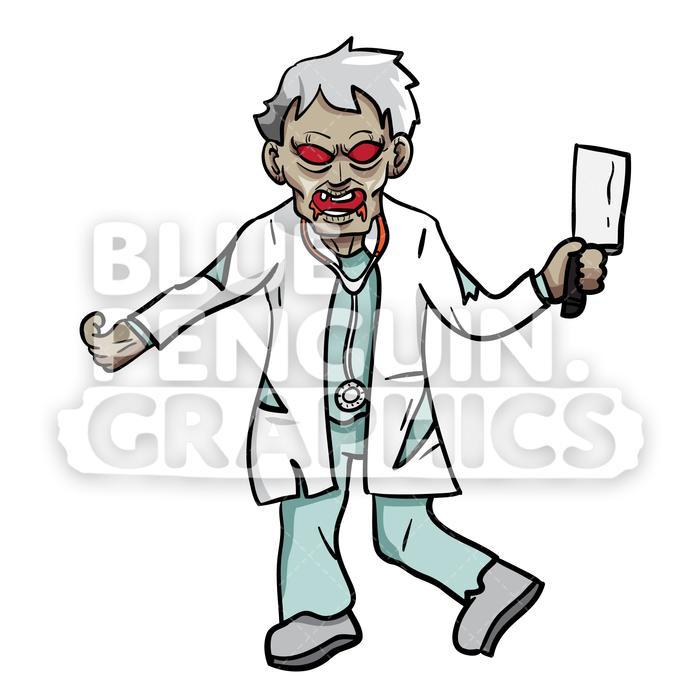 700x700 Crazy Doctor Zombie Vector Cartoon Clipart Illustration Blue