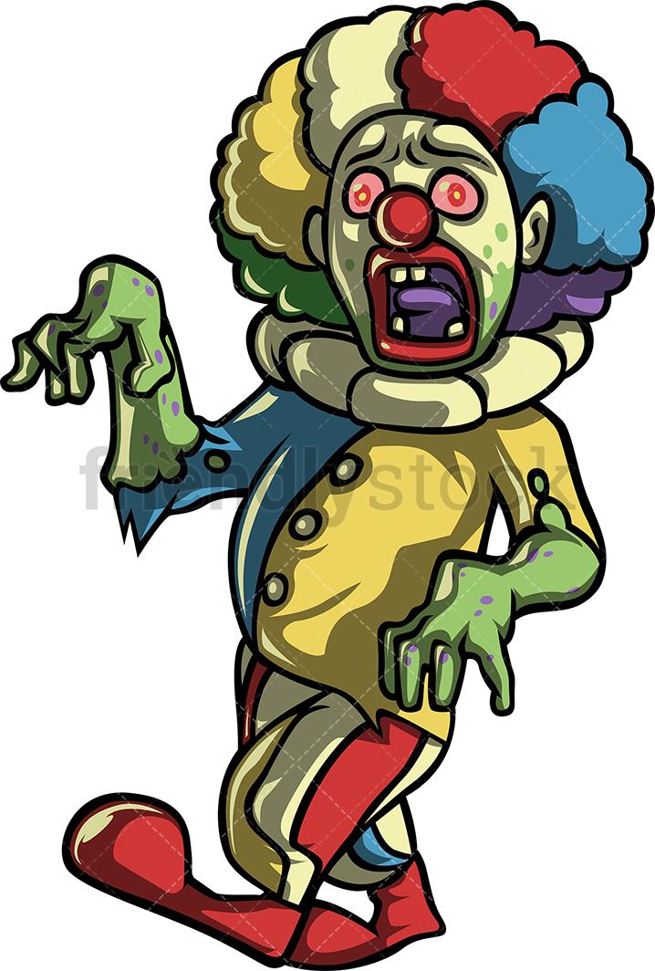 718x1064 Creepy Scary Clown Zombie Cartoon Clipart Vector