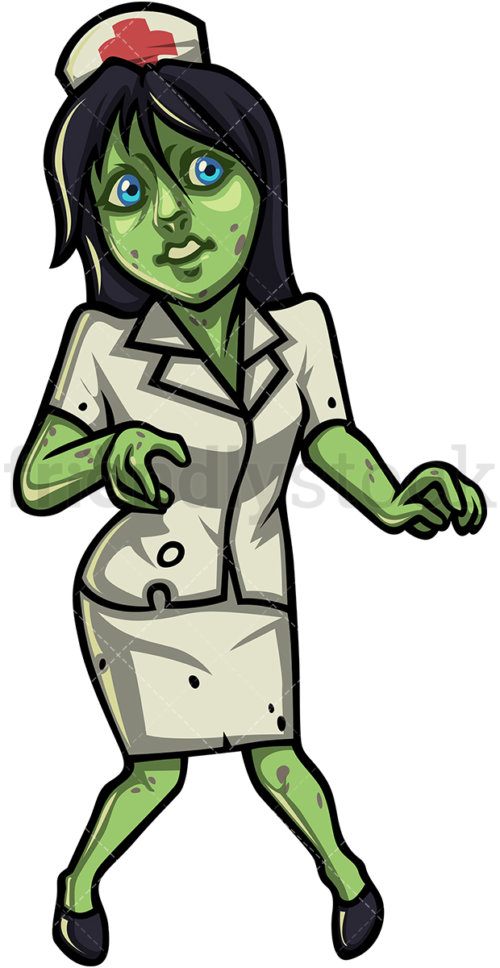 500x968 Female Nurse Zombie Cartoon Clipart Vector