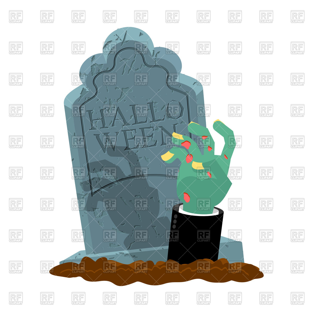 1200x1200 Halloween Concept With Gravestone And Hand Of Zombie Vector Image
