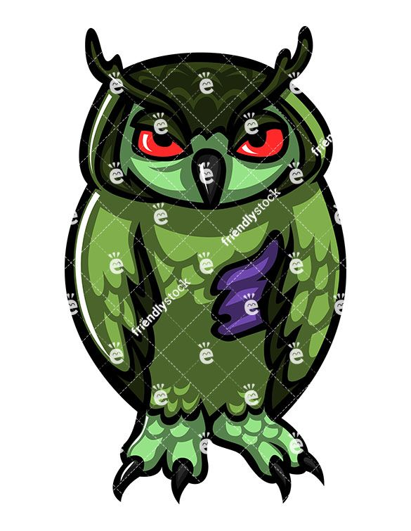 585x755 Monster Owl Zombie Cartoon Clipart With Commercial License