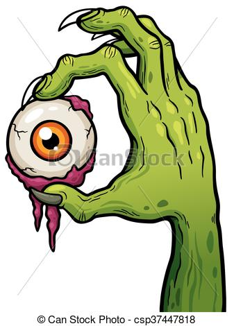 337x470 Vector Illustration Of Cartoon Zombie Hand Holding Eye.