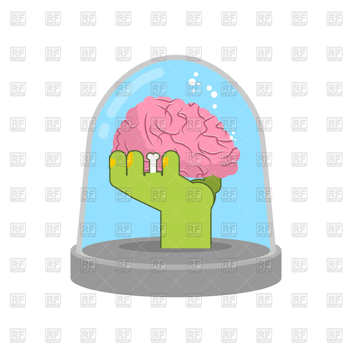 1200x1200 Zombie Hand In Glass Bell With Brain Vector Image Vector Artwork