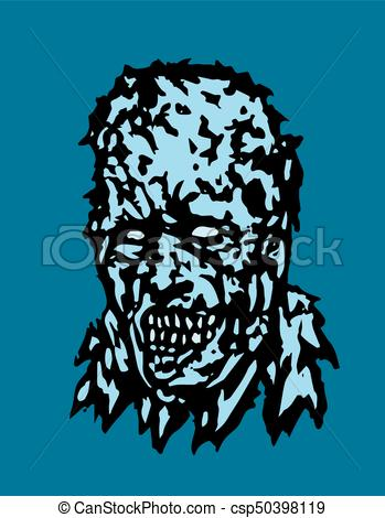 349x470 Anger Head Of Zombie. Vector Illustration. Horror Genre.