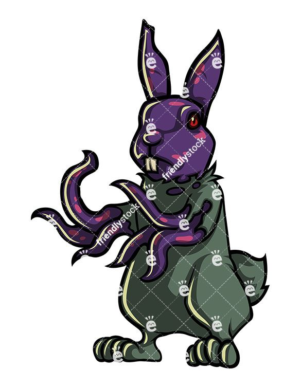 585x755 Bunny Rabbit Zombie Cartoon Clipart With Commercial License