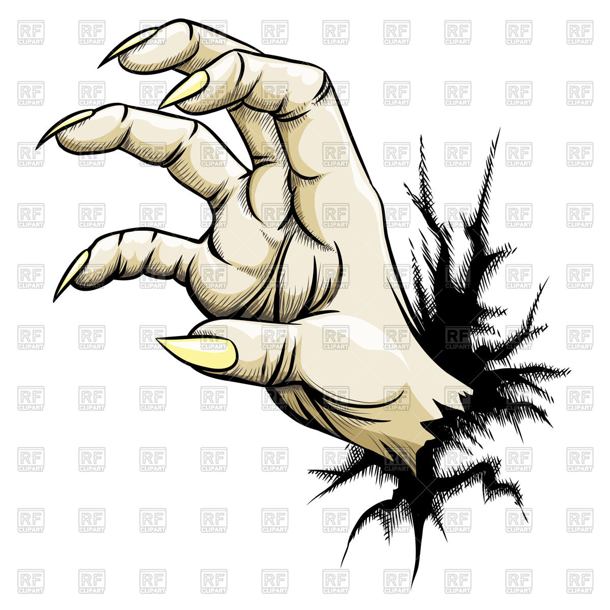 1200x1200 Grabbing Zombie Hand With Claws Vector Image Vector Artwork Of