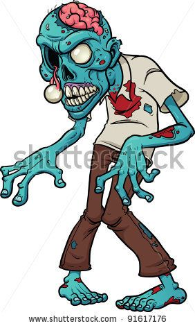 282x470 Cartoon Zombie. Vector Illustration With Simple Gradients.