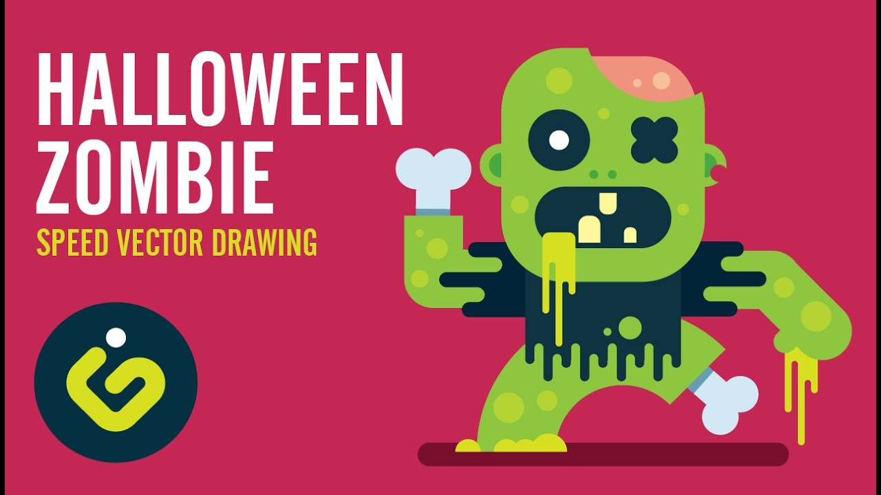 1280x720 How To Draw Halloween Zombie, Speed Drawing Adobe Illustrator