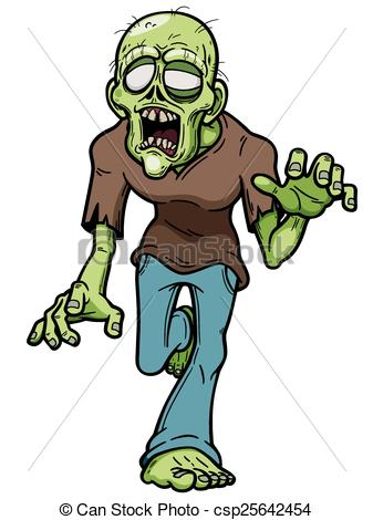 337x470 Zombie. Vector Illustration Of Cartoon Zombie.
