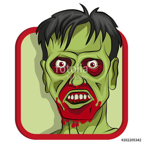 500x500 Cartoon Zombie Head. Vector Graphics To Design. Stock Image And