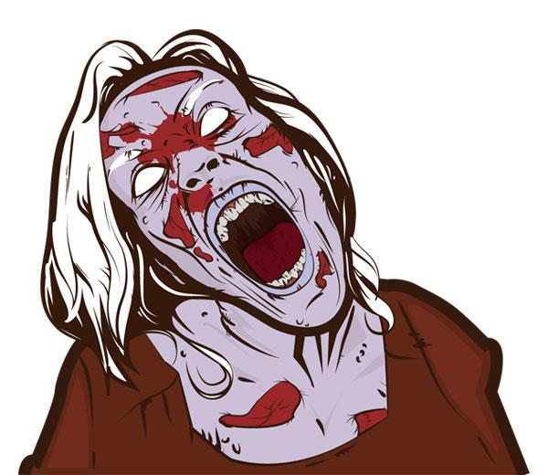 600x520 Free Scary Zombie Girl Vector 123freevectors