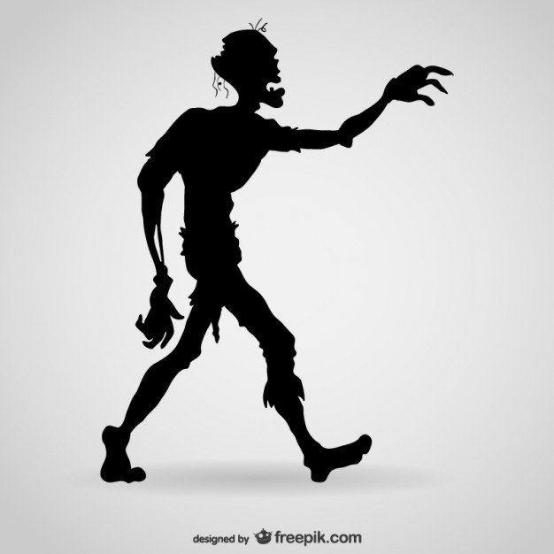 626x626 Hungry Zombie Silhouette Vector Free Download