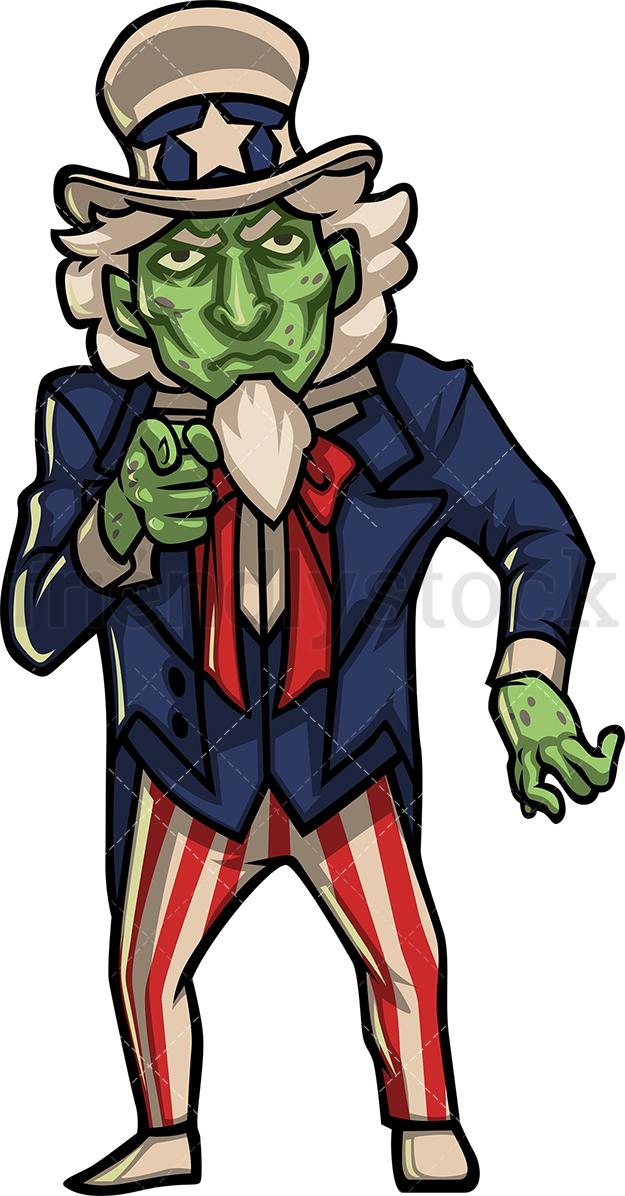 625x1196 Zombie Uncle Sam Cartoon Clipart Vector