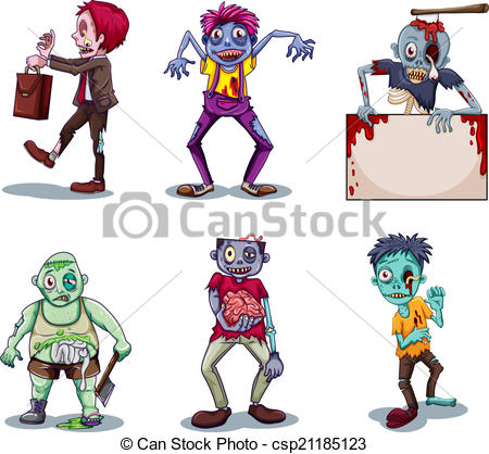 450x418 Scary Zombies. Illustration Of A Scary Zombies On A White Background.
