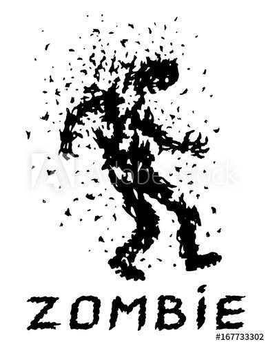 389x500 Shoot The Zombies! Vector Illustration. Scary Character Silhouette