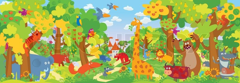 800x277 Cute Zoo Animals. Vector Illustration Stock Vector Colourbox