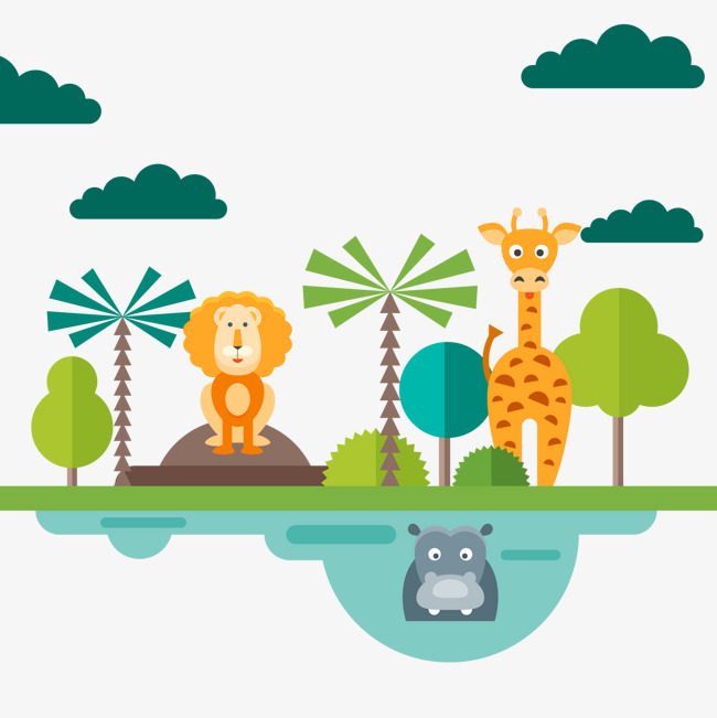 650x651 Flattened Zoo Animals Vector, Cartoon Animal, Giraffe, Lion Png