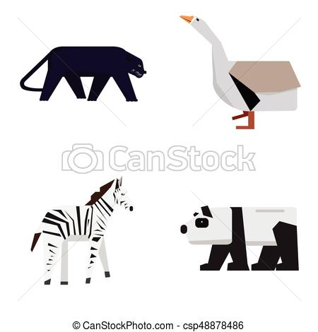450x470 Set Of Zoo Animals. Set Of Geometric Zoo Animals, Vector Illustration.