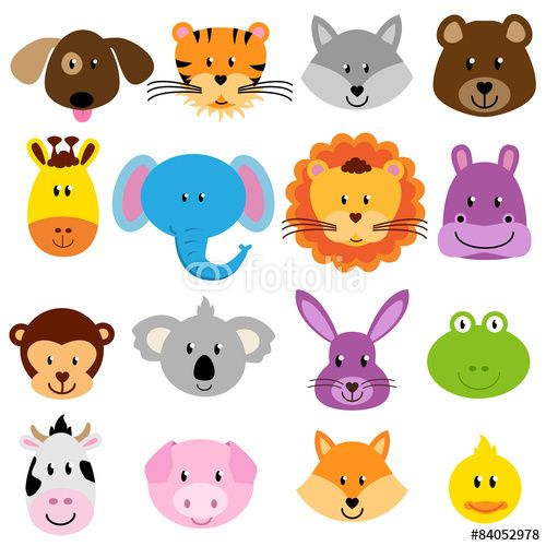 500x500 Vektor Vector Zoo Animal Faces Set Dellie Mure Craft