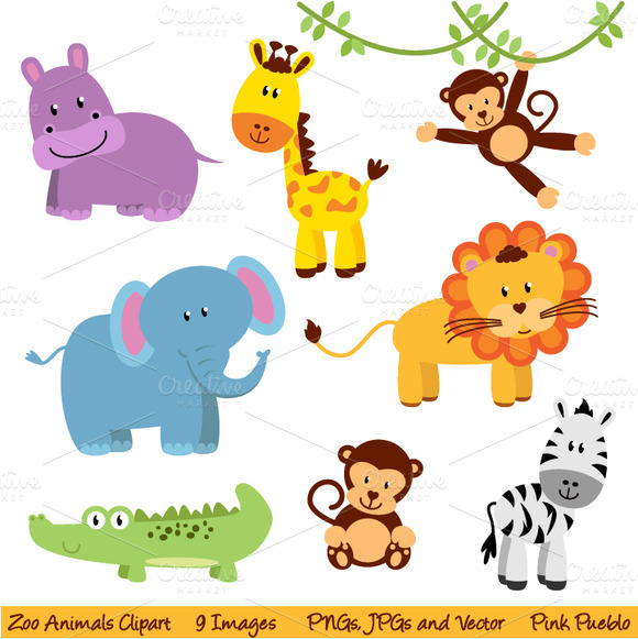 580x581 Zoo Animals Clipart Vector