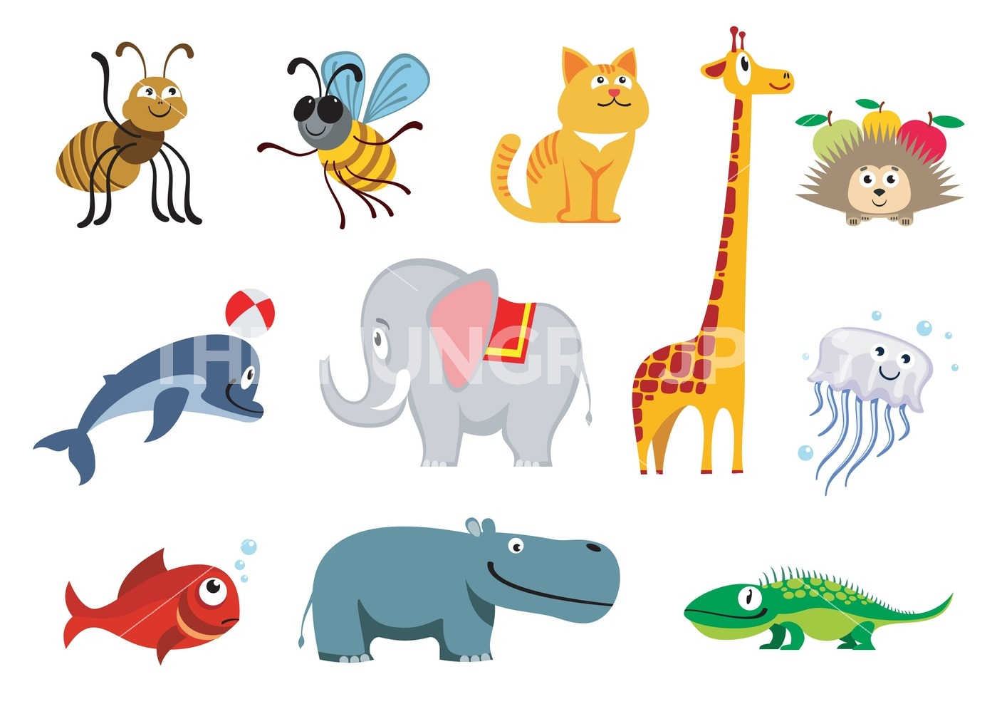 1400x995 Zoo Animals Vector Set By Microvector