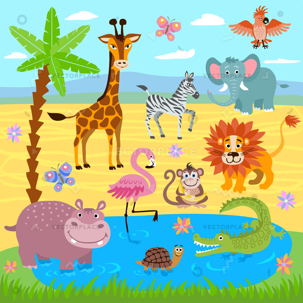 1000x1000 Baby Jungle Safari Zoo Animals Nature Vector Illustration 17443