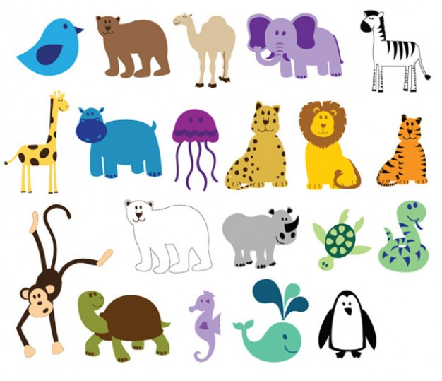 626x539 Compact Colorful Zoo Animals Vector Download Free Animal Vectors