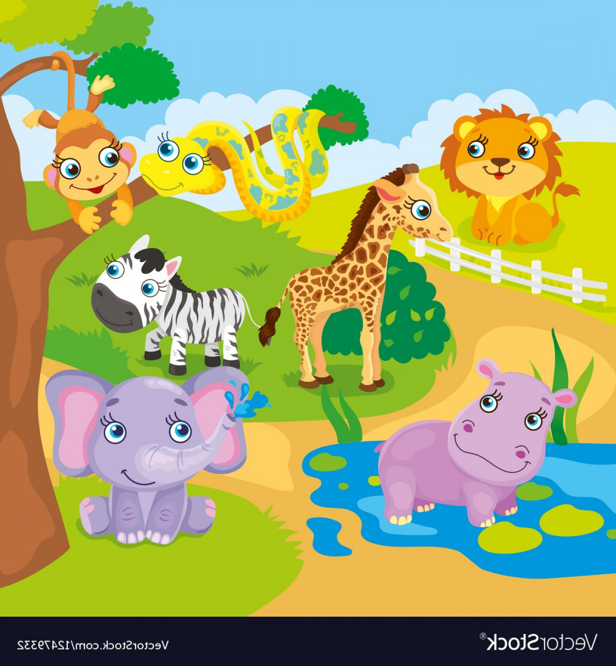 1200x1296 Cute Cartoon Zoo Animals Vector Shopatcloth