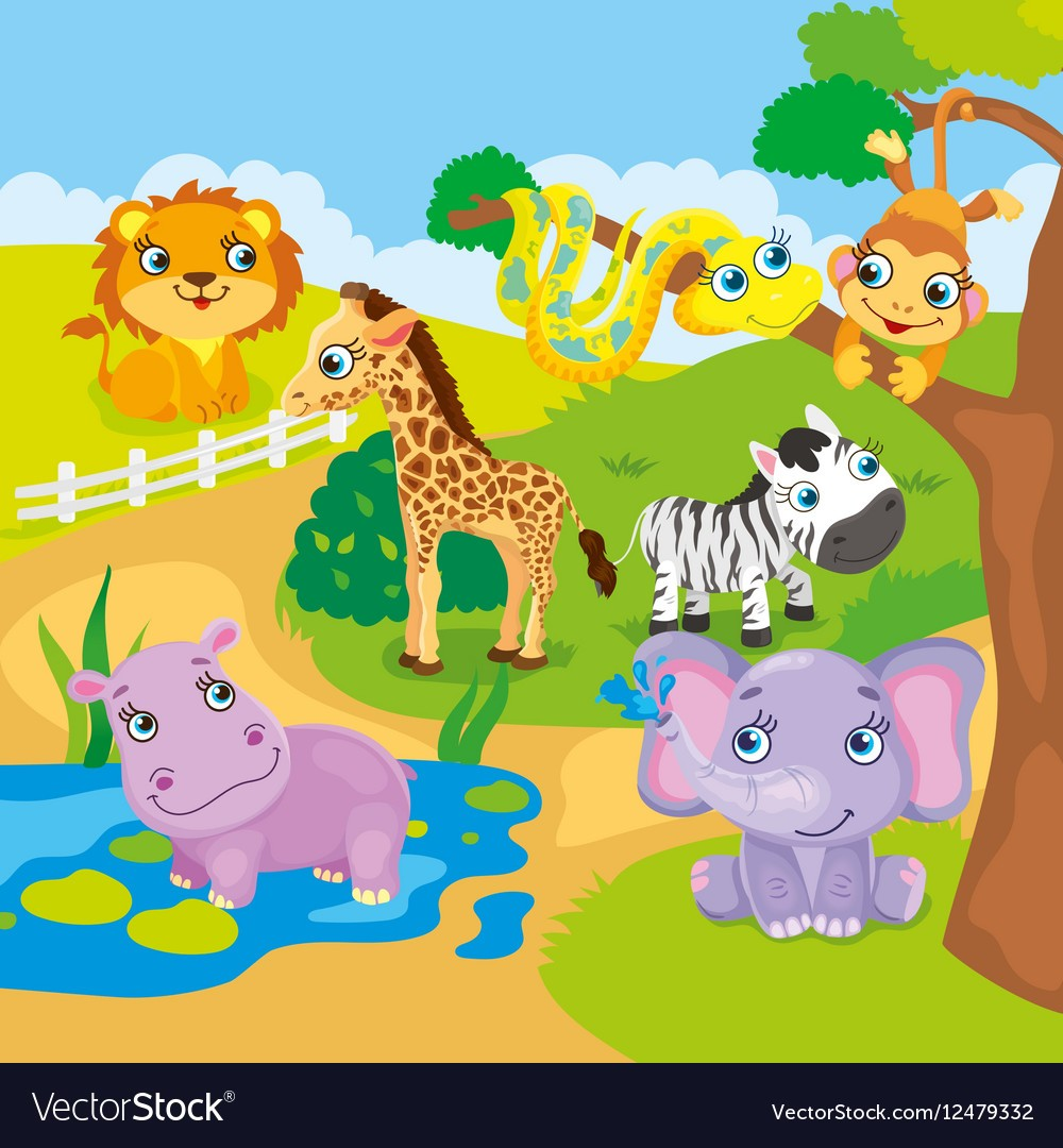 1000x1080 Cute Cartoon Zoo Animals Vector 12479332 Animal 8