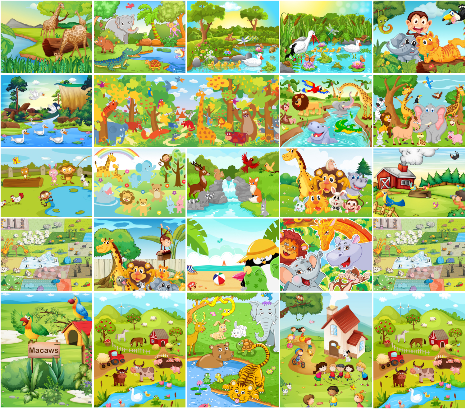 1500x1314 Cartoon Animals In The Zoo And Outdoors Vector Free Download