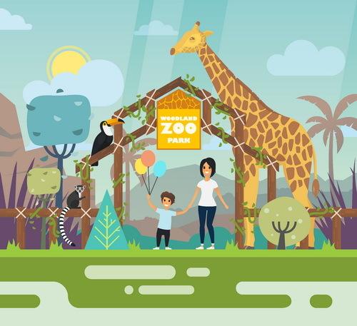 500x457 Cartoon Zoo Illustration Vector 02 Free Download