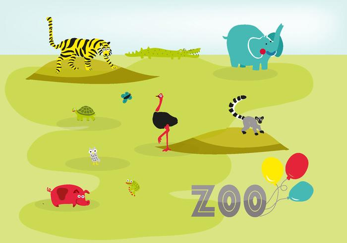 700x490 Cute Hand Drawn Zoo Animals Vector Background
