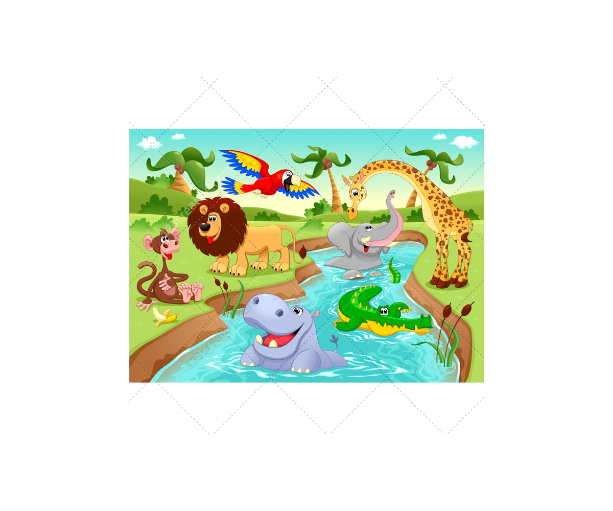 1200x1000 Funny Zoo Vector Illustration